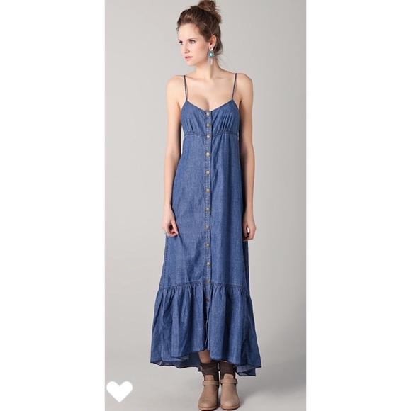 f82b5dfb8e Free People Dresses   Skirts - FREE PEOPLE Cutout Back Chambray Maxi Dress